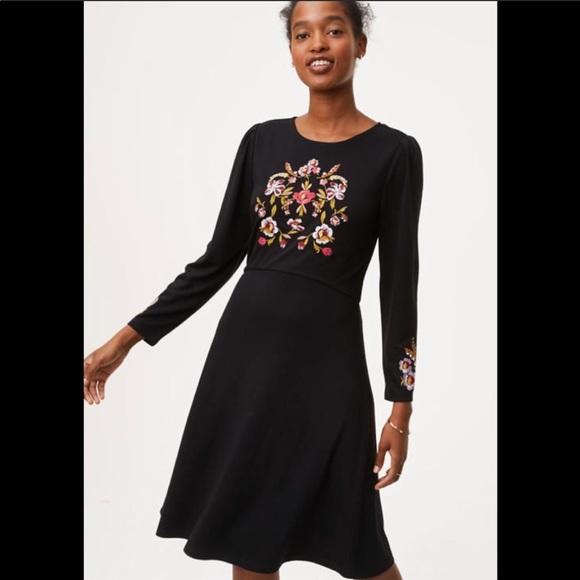 LOFT Dresses & Skirts - Loft Black Embroidery Fit and Flare Dress 4
